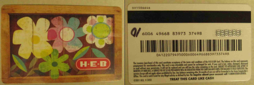 HEB card both sides